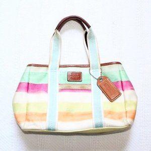 Coach Hampton Watercolor Stripe Small Tote Bag